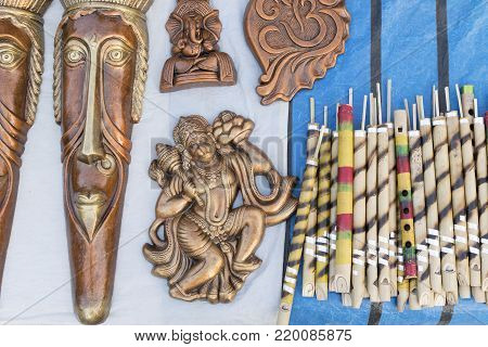 Clay made miniatures, terracotta handicrafts, tribal art of Bankura and Bishnupur , on display during the Handicraft Fair in Kolkata , West Bengal, India. It is the biggest handicrafts fair in Asia.