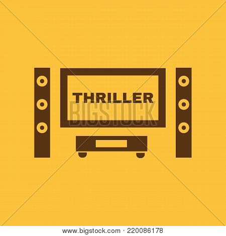 Thriller movie icon. TV and Home theater, cinema symbol. Flat design. Stock - Vector illustration