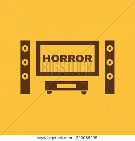 Horror movie icon. TV and Home theater, cinema symbol. Flat design. Stock - Vector illustration