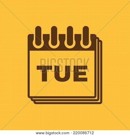 Tuesday icon. Tue and calendar, data symbol. Flat design. Stock - Vector illustration