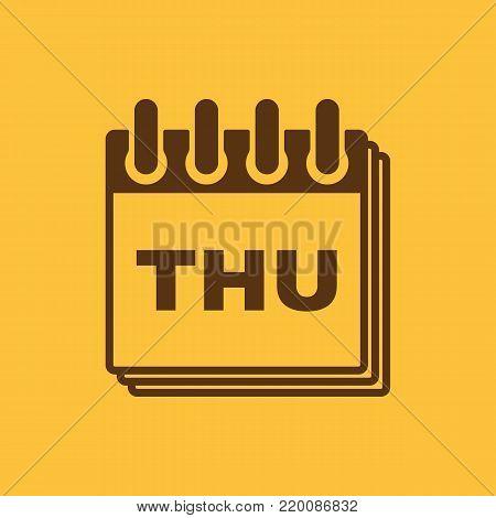 Thursday icon. Thu and calendar, data symbol. Flat design. Stock - Vector illustration