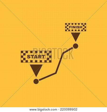 Road icon. Way, path, route, track symbol. Flat design. Stock - Vector illustration