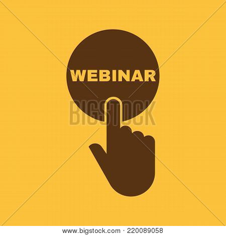 Hand pressing a button with the text WEBINAR icon. Education, e-learning, tutorials symbol. Flat design. Stock - Vector illustration