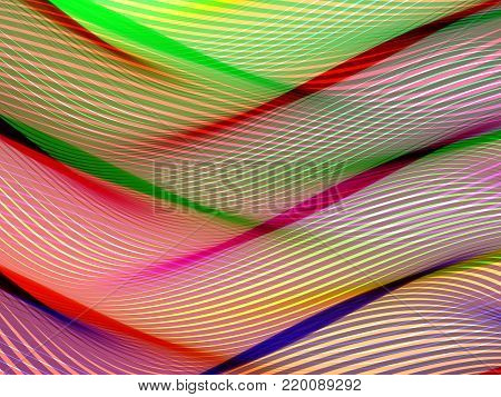 Abstract striped background. Rhythmic colorful lines. EPS10 with transparency. Colorful background. Abstract composition with curve lines. Abstract 3d effect. Illusion of three dimensional surface.
