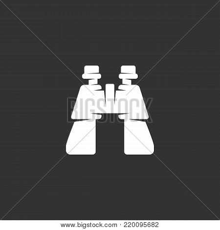 Binocular icon illustration isolated on black background. Binocular vector logo. Flat design style. Modern vector pictogram, sign, symbol for web graphics - stock vector