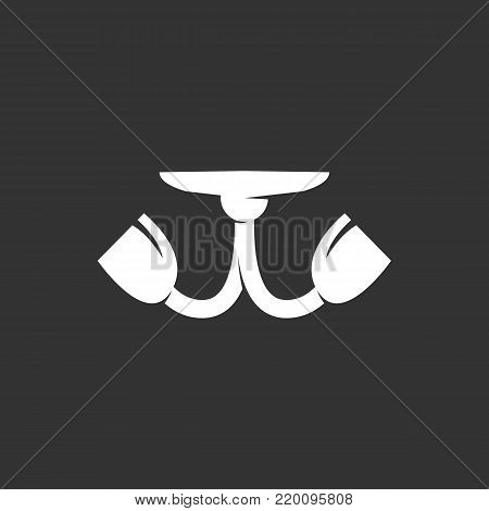 Chandelier icon illustration isolated on black background. Chandelier vector logo. Flat design style. Modern vector pictogram, sign, symbol for web graphics - stock vector