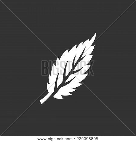 Eco leaf icon illustration isolated on black background. Eco leaf vector logo. Flat design style. Modern vector pictogram, sign, symbol for web graphics - stock vector