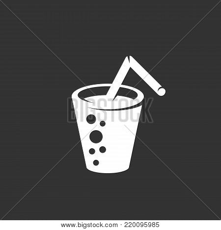 Glass of water icon illustration isolated on black background. Glass of water vector logo. Flat design style. Modern vector pictogram, sign, symbol for web graphics - stock vector