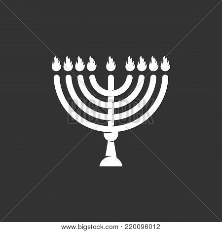 Happy Hanukkah icon illustration isolated on black background. Happy Hanukkah vector logo. Flat design style. Menorah vector pictogram, sign, symbol for web graphics - stock vector