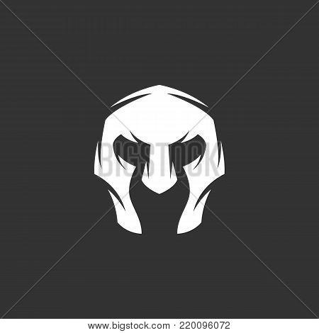 Gladiator helmet icon illustration isolated on black background. Gladiator helmet vector logo. Flat design style. Modern vector pictogram, sign, symbol for web graphics - stock vector