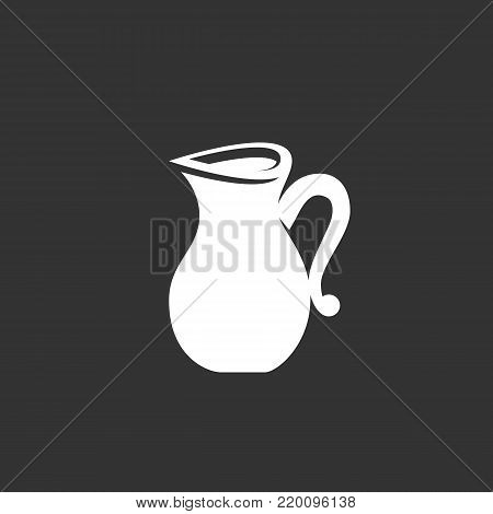 Jug icon illustration isolated on black background. Jug vector logo. Flat design style. Modern vector pictogram, sign, symbol for web graphics - stock vector