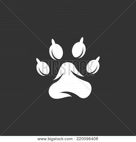 Paw print icon illustration isolated on black background. Paw print vector logo. Flat design style. Modern vector pictogram, sign, symbol for web graphics - stock vector