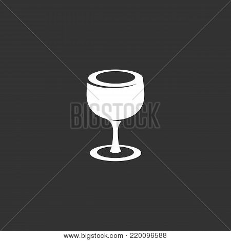 Glass icon illustration isolated on black background. Glass vector logo. Flat design style. Modern vector pictogram, sign, symbol for web graphics - stock vector