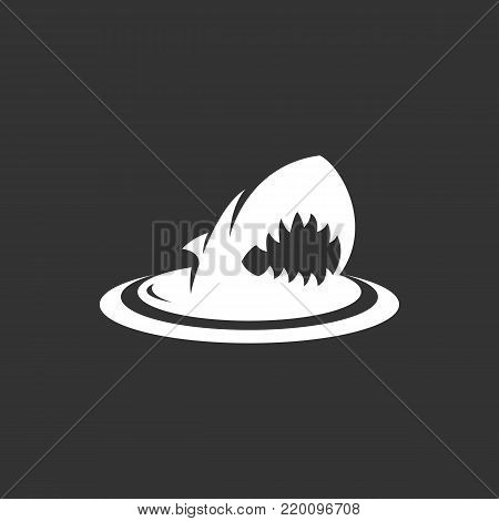 Shark icon illustration isolated on black background. Shark vector logo. Flat design style. Modern vector pictogram, sign, symbol for web graphics - stock vector