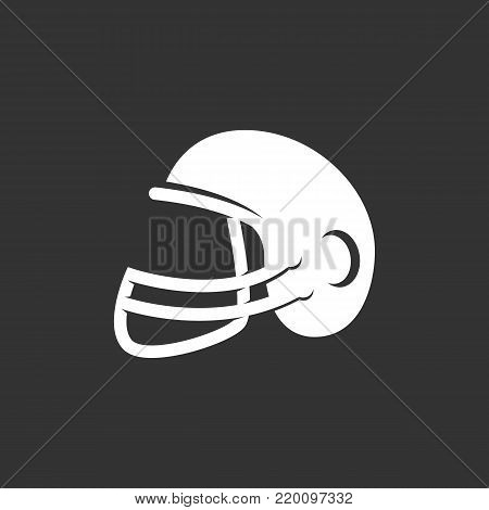 American football helmet icon isolated on black background. American football helmet vector logo. Flat design style. Modern vector pictogram for web graphics - stock vector