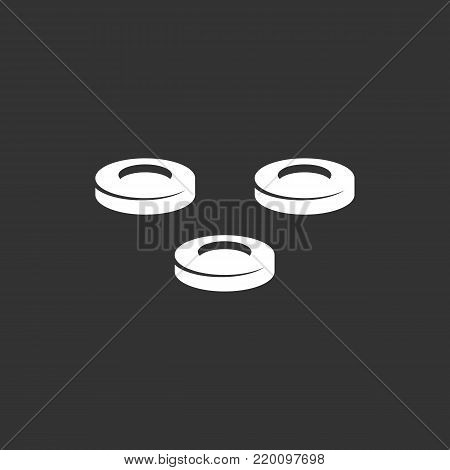 Checkers icon isolated on black background. Checkers vector logo. Flat design style. Modern vector pictogram for web graphics - stock vector