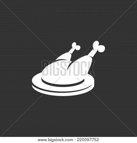 Chicken on a plate icon isolated on black background. Chicken vector logo. Flat design style. Modern vector pictogram for web graphics - stock vector