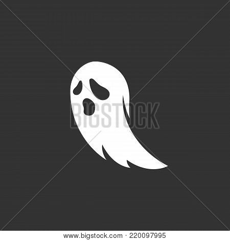 Ghost icon isolated on black background. Ghost vector logo. Flat design style. Modern vector pictogram for web graphics - stock vector