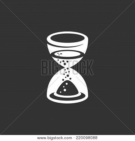 Hourglass icon isolated on black background. Hourglass vector logo. Flat design style. Modern vector pictogram for web graphics - stock vector