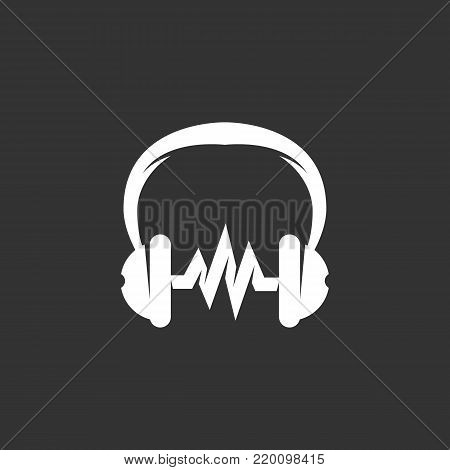 Music icon illustration isolated on black background sign symbol. Music vector logo. Headphones vector pictogram for web graphics - stock vector