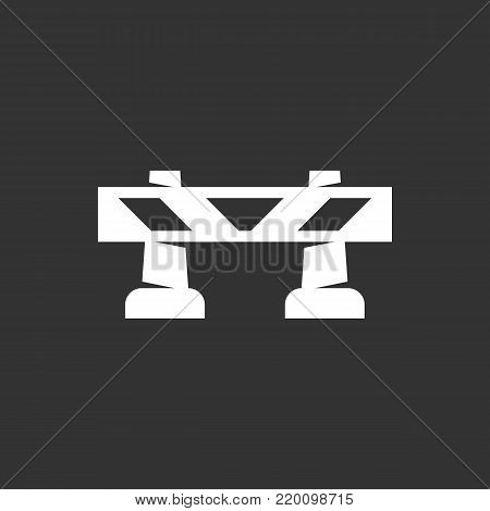 Road barrier icon isolated on black background. Road barrier vector logo. Flat design style. Modern vector pictogram for web graphics - stock vector