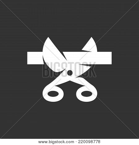 Scissors and ribbon icon illustration isolated on black background sign symbol. Scissors and ribbon vector logo. Presentation vector pictogram for web graphics - stock vector