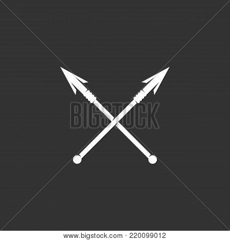 Crossed spears icon illustration isolated on black background sign symbol. Crossed spears vector logo. Modern vector pictogram for web graphics - stock vector