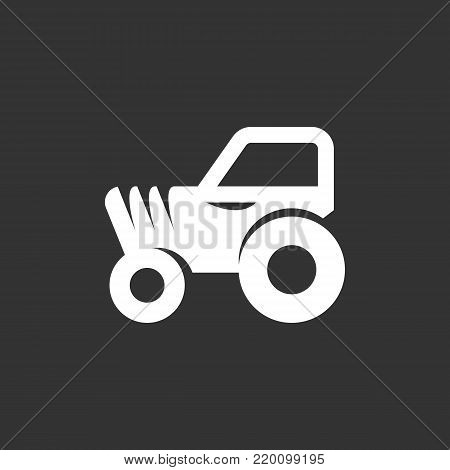 Tractor icon illustration isolated on black background sign symbol. Tractor vector logo. Modern vector pictogram for web graphics - stock vector