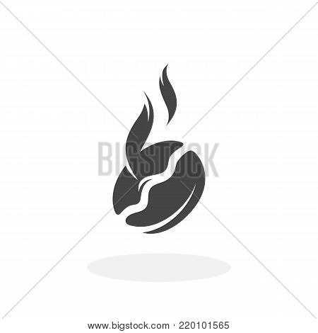 Coffee bean icon illustration isolated on white background sign symbol. Coffee bean vector logo. Flat design style. Modern vector pictogram for web graphics - stock vector