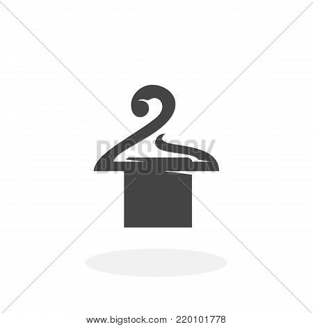 Towel on a hanger icon illustration isolated on white background sign symbol. Hanger vector logo. Flat design style. Modern vector pictogram for web graphics - stock vector
