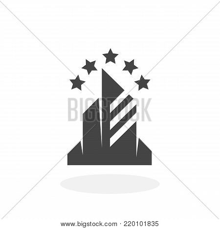 Hotel icon illustration isolated on white background sign symbol. Hotel vector logo. Flat design style. Modern vector pictogram for web graphics - stock vector