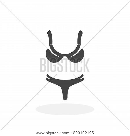 Swimsuit icon illustration isolated on white background sign symbol. Swimsuit vector logo. Flat design style. Bikini vector pictogram for web graphics - stock vector