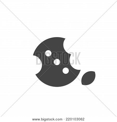 Bitten cookie icon on white background. Cookie vector logo illustration isolated sign symbol. Modern pictogram for web graphics