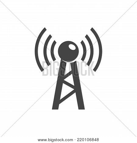 Antenna icon. Communication tower logo. Radio sign. Television symbol