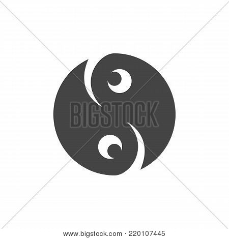 Ying yang icon. Vector logo on white background