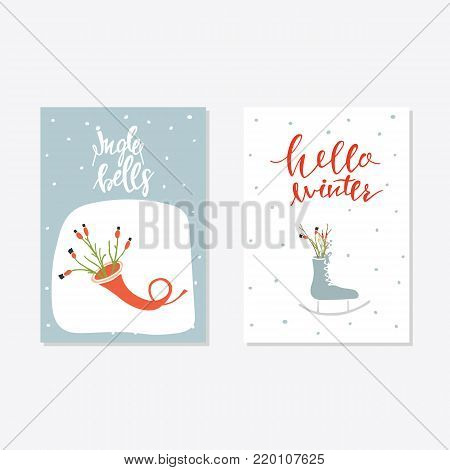Greeting Card with christmas toys. Jingle bells lettering Template for New 2018 Year Cards and Merry Christmas
