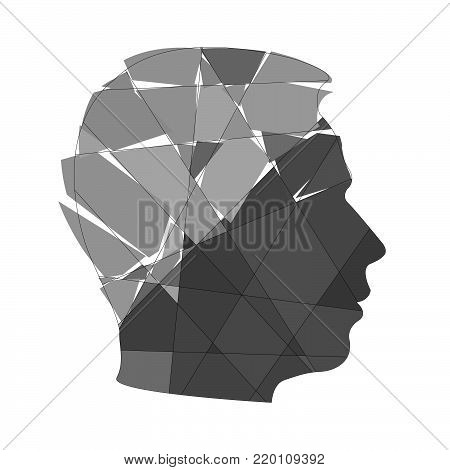 Psychology concept of man. Distortion of perceiving world. Icons silhouette profile of man's head with pattern on background of gray gradient destruction triangles shape. Vector EPS 10 for cover book