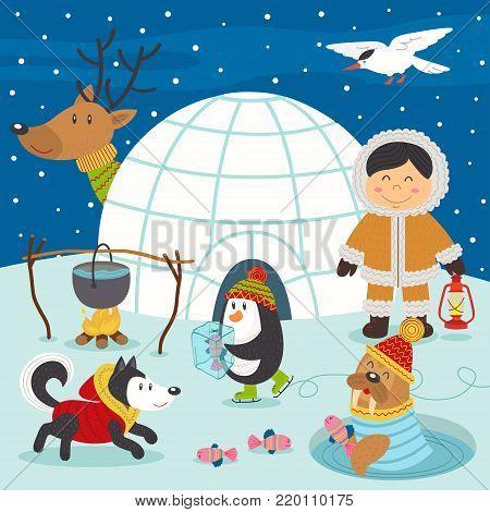 Eskimo boy and arctic animals on North Pole  - vector illustration, eps