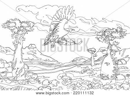 a black and white illustration printmaking for painting in color or tattoo vintage, engraving for color. Black and white coloring pages for adults