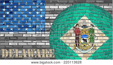 Delaware flag on the grey USA flag background - Illustration,  Ball with Delaware flag