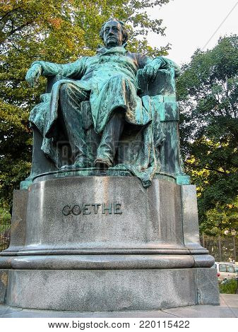 VIENNA, AUSTRIA - OCTOBER 15, 2005: Statue of German writer and poet Johann Wolfgang von Goethe in Vienna on October 15, 2005.