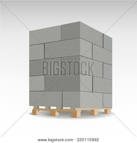 Aerated autoclaved concrete block. Isolated Foam concrete on pallets. vector illustration