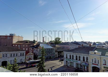 Rybinsk, Russia. - June 3.2016. A view of the surrounding streets from the Belltower of the Rybinsk Savior Transfiguration Cathedral