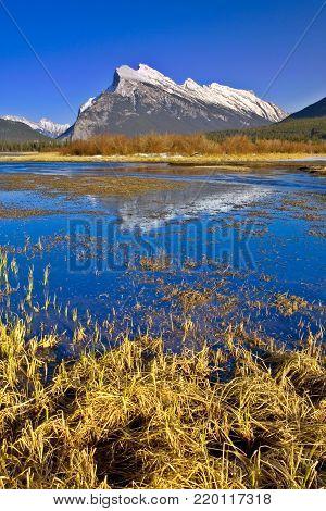 Mount Rundle Reflection in Vermilion Lake, Banff, Canadian Rockies, Alberta
