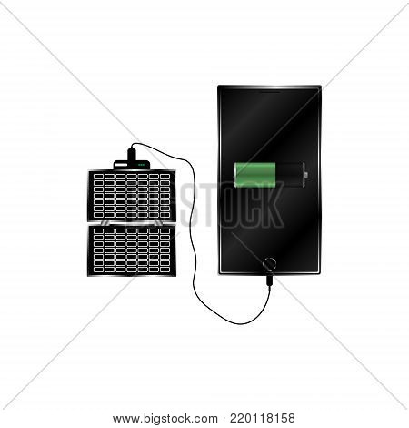 Vector image of a solar panel for charging a mobile phone and a charged mobile phone in a realistic performance on a white background