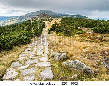 Mountain hiking trails in Krkonose or Giant Mountains, Czechia