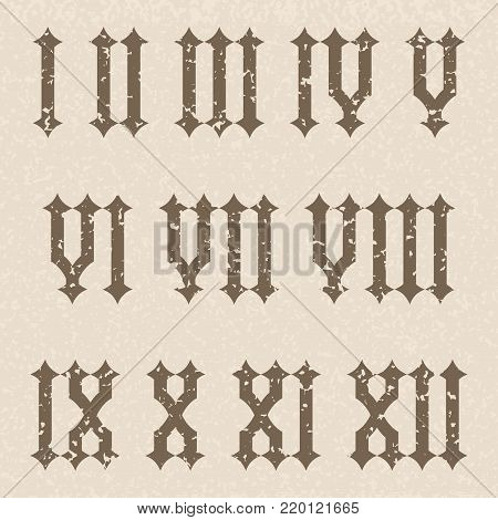 Roman numerals. Gothic numbers on beige background. Vector illustration