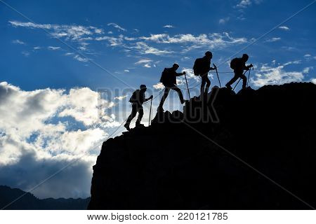 team spirit and compatibility ;successful mountaineering activities and summit struggle