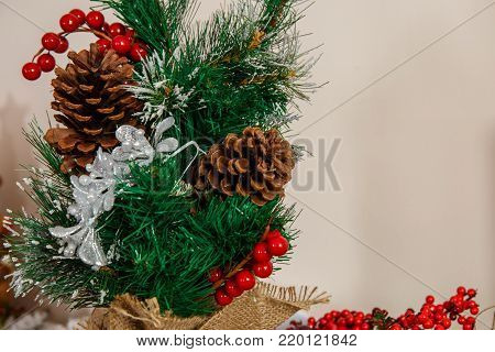Wreath of spruce brunches and rowan berries. bumps on a chrestmas tree branch. Space for text