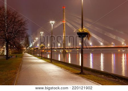 View of the cable-stayed bridge at night. Tallinn. Estonia.